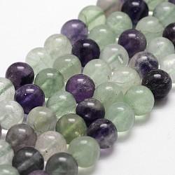 Chapelets de perles en fluorite naturelle, rond, grade AB +, 8mm, trou: 1mm; environ 50 pcs/chapelet, 14.9''~15.1''(G-G735-24-8mm-AB+)