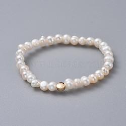 """Bracelets enfants extensibles, avec des perles en laiton, grade a perles d'eau douce naturelles et sacs d'emballage en toile de jute sacs à cordon, plat rond, blanc, 1-3/4"""" (4.5 cm)(BJEW-JB04622-04)"""