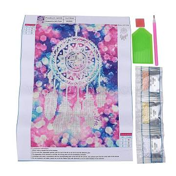 DIY Diamond Painting Canvas Kits For Kids, with Resin Rhinestones, Diamond Sticky Pen, Tray Plate and Glue Clay, Woven Net/Web with Feather, Mixed Color, 35.5x24.5cm(DIY-F059-11)