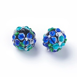 Fait main perles au chalumeau cahoteuses, rond, bleu royal, 14~15mm, Trou: 1.5~1.6mm(LAMP-E021-07F)