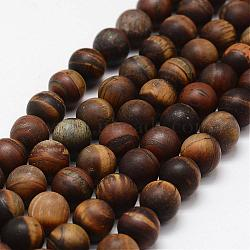 Frosted Natural Tiger Eye Beads Strands, Round, 10mm, Hole: 1.5mm;  about 38pcs/strand, 14inches