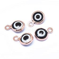 Breloques vernissées de mauvais œil manuelles, avec les accessoires en laiton, plat rond, noir, Véritable plaqué or rose, 10x6.5x3mm, Trou: 1.5mm(KK-F764-13RG-01)