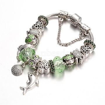 Ocean Theme Alloy Rhinestone Bead European Bracelets, with Glass Beads and Brass Chain, PaleGreen, 180mm(BJEW-L602-26A)