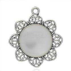 Fleur plaqué argent antique pendentifs en alliage de résine, fumée blanche, 48.5x43x6.5mm, Trou: 3mm(PALLOY-J633C-01AS)
