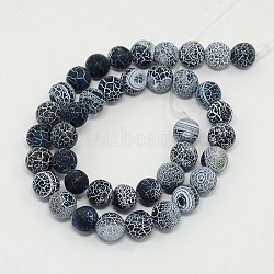 Gemstone Beads Strands, Natural Weathered Agate/Crackle Agate, Round, Grade A, Dyed, Black, 14mm; about 28pcs/strand, 16inches