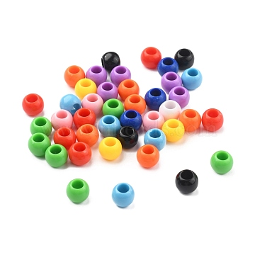 Opaque Acrylic European Beads, Large Hole Beads, Rondelle, Mixed Color, 9.5x8mm, Hole: 4.5mm(X-SACR-R902-13)