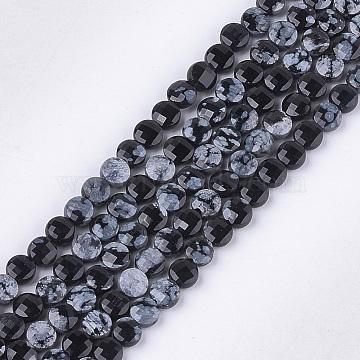 4mm Flat Round Snowflake Obsidian Beads