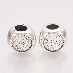 Alliage de style tibétain alliage européen cabonchon paramètres, Perles avec un grand trou   , sans plomb et sans nickel, rondelle, argent antique, plateau: 8 mm; 10.5x12x11 mm, Trou: 5mm(X-TIBE-T011-06AS-FF)