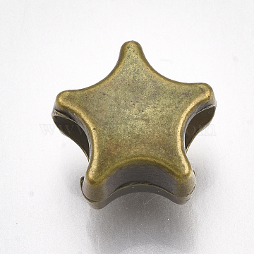 CCB Plastic European Beads, Large Hole Beads, Star, Antique Bronze, 10x10.5x7mm, Hole: 4mm(CCB-S161-03AB)