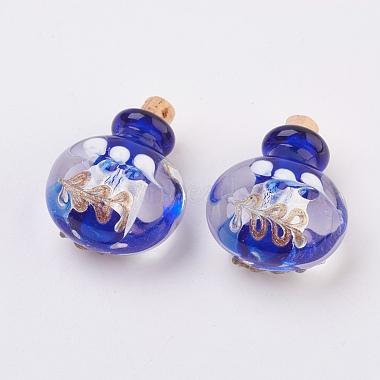 Pendentifs de bouteille de parfum au Lampwork argenté manuels(FOIL-P001-A)-2