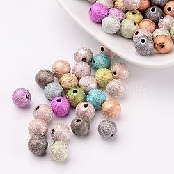 Perles acryliques laquées, Style mat, rond, couleur mixte, taille: environ 8mm de diamètre, Trou: 1mm, environ 2160 pcs/500 g(PB24P9284)