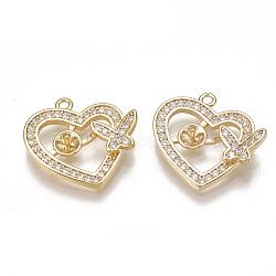 Laiton micro pavé zircone cubique peg bails pendentifs, pour perle à moitié percée, véritable 18k plaqué or, cœur, clair, 15x16x3mm, trou: 1.2 mm; broches: 0.8 mm(KK-T038-359G)