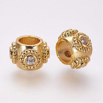 Brass Micro Pave Cubic Zirconia European Beads, Rondelle, Golden, 10.5x7mm, Hole: 5mm(ZIRC-F054-32G)