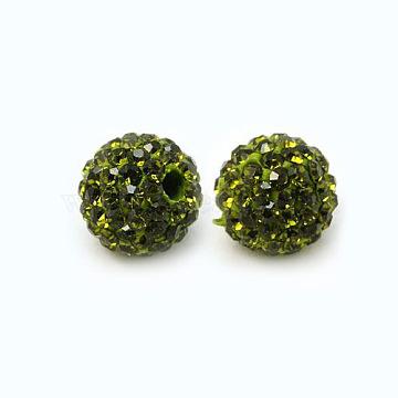 Perles de strass en argile polymère, Perles de boule pavé disco , Grade a, rond, pp 15, olivine, 10mm, Trou: 1.8~2mm(X-RB-C1438-10mm-A09)