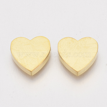 304 Stainless Steel Beads, Heart, Golden, 11x12x3mm, Hole: 1.8mm(X-STAS-S079-140B)