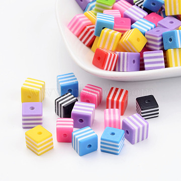 Mixed Cube Resin Beads, with Stripe Pattern, about 8mm long, 8mm wide, 8mm thick, hole: 1.5mm(X-RB106Y)