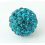 Pave Disco Ball Beads, Polymer Clay Rhinestone Beads, Grade A, Round, Blue Zircon, PP12(1.8~1.9mm), 8mm, Hole: 1mm
