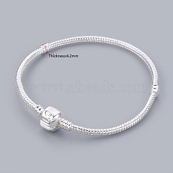 Brass European Style Bracelets, with Brass Clasp with Love Sign, Silver Color Plated, Chain: about 19cm long(excluding the length of lock)(X-PPJ002-S)