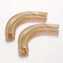 Fer perles tube de ressort, Perles de bobine, or clair, 15x78x9mm, Trou: 12x6mm(IFIN-P007-01KCG)