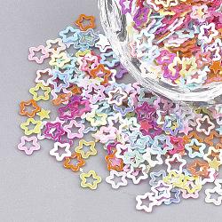 Accessoires ornement, paillette / paillettes en plastique pvc, de couleur plaquée ab , étoiles, couleur mixte, 2.5~4x2.5~4x0.2 mm; environ 8000 pcs / 50 g(X-PVC-T001-03)