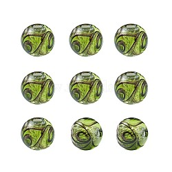Perles vernissées de sable d'or manuelles , rond, greenyellow, 11.5~12mm, Trou: 1.2~2mm(LAMP-TAC0001-01A)