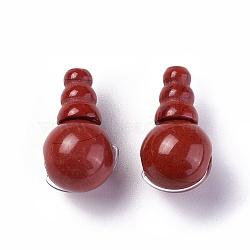 jaspe rouge naturel 3 perles de gourou de trou, perles t-percées, pour la fabrication de bijoux bouddhiste, Grade A, 18~18.5x10~10.5 mm, trou: 1.2 mm et 1.6 mm(G-L517-01A)