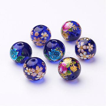 Flower Picture Transparent Glass Round Beads, Mixed Color, 14x13mm, Hole: 1.5mm(GFB-R004-14mm-M17)