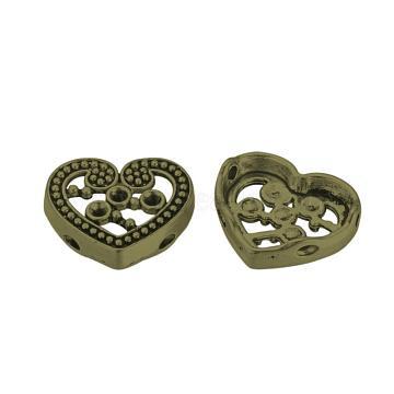 Tibetan Style Alloy Cabochon Rhinestone Settings, Cadmium Free & Nickel Free & Lead Free, Heart, Antique Bronze, Fit for 2mm rhinestone; 14x17x4mm, Hole: 1.5mm; about 620pcs/1000(TIBE-Q070-94AB-NR)