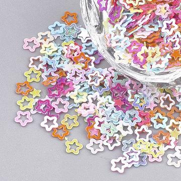 Ornament Accessories, PVC Plastic Paillette/Sequins Beads, AB Color Plated, Star, Mixed Color, 2.5~4x2.5~4x0.2mm, about 8000pcs/50g(X-PVC-T001-03)