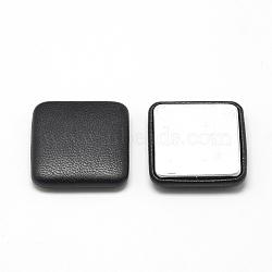 Cabochons recouverts de tissu imitation cuir, avec fond en aluminium, carrée, noir, 32.5x32.5x7mm(X-WOVE-S084-02B)