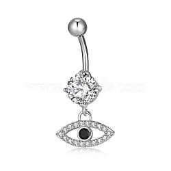 piercing bijoux, anneau de nombril de zircon cubique en laiton environnemental, anneaux de ventre, avec les résultats en acier inoxydable, oeil de cheval, couleur mélangée, platine, 33x15 mm(AJEW-EE0002-03P)