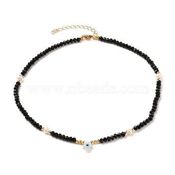 Hamsa Hand with Evil Eye Natural White Shell Beaded Necklaces, with Natural Malaysia Jade Beads, Pearl Beads, Brass Beads and 304 Stainless Steel Lobster Claw Clasps, 14.96 inches(38cm)(NJEW-JN03147-03)