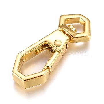 Alloy Swivel Clasps, Swivel Snap Hook, Golden, 34.5x14x5.5mm, Hole: 4.5x7.5mm(X-PALLOY-WH0070-20G)