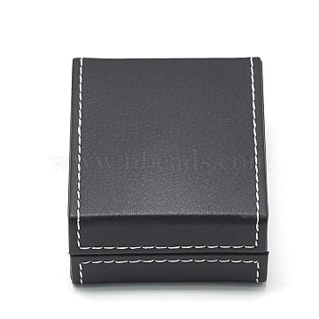 Plastic Imitation Leather Pendant Necklaces Boxes, with Velvet, Rectangle, Black, 8.5x7.1x3.7cm(OBOX-Q014-27)