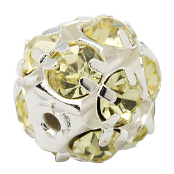 Brass Rhinestone Beads, with Iron Single Core, Grade A, Silver Metal Color, Round, Jonquil, 8mm in diameter, Hole: 1mm(X-RB-A019-8mm-13S)