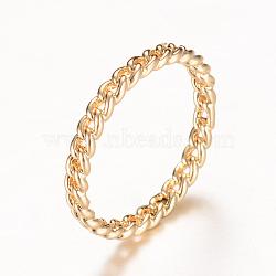 Латунные полые кольца палец, золотой свет, 16 мм(RJEW-T001-17KC)