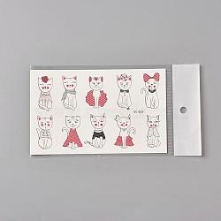 tatouages temporaires faux chaton amovible, imperméable, autocollants papier de dessin animé, cat, coloré, 120~121.5x75 mm(AJEW-WH0061-B06)