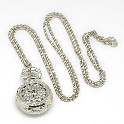 """Alliage rond et plat avec pendentif en toile d'araignée montre de poche de collier, avec des chaînes de fer et fermoirs pince de homard, montre à quartz, platine, 30.7""""; cadran montre: 36x27x13 mm(X-WACH-N013-03)"""
