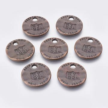 Pendentifs en alliage de zinc, sans plomb et sans cadmium, plat rond, couleur de cuivre rouge, taille: environ 22 mm de long,  largeur de 22 mm, épaisseur de 2mm, Trou: 3mm(PALLOY-QA3346-R-LF)