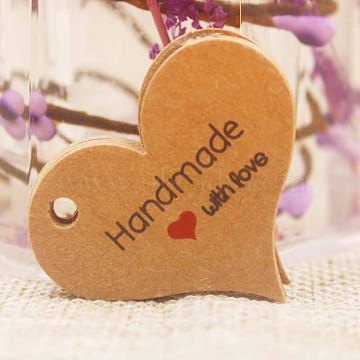 Paper Gift Tags, Hange Tags, For Arts and Crafts, For Valentine's Day, Thanksgiving, Heart with Word Handmade with Love, BurlyWood, 32x39x0.4mm, Hole: 4mm(CDIS-P001-B03-B)