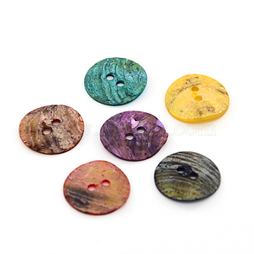 Mother of Pearl Buttons, Akoya Shell Button, Dyed, Flat Round, Mixed Color, 15x1mm, Hole: 1.5mm(SHEL-J001-M06)