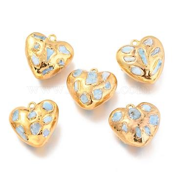 Natural Pearl Pendants, with Golden Brass Findings, Heart, Light Blue, 28~30x27.5~30x14.5~16mm, Hole: 2.2mm(KK-G398-04G)