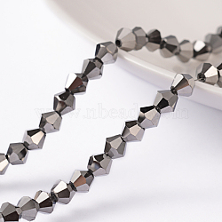 Faceted Bicone Electroplate Glass Bead Strands, Platinum Plated, 4x4mm, Hole: 1mm, about 100~104pcs/strand, 19.6 inches(X-EGLA-P016-4mm-F06)