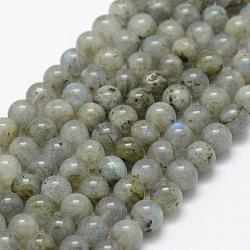 Natural Labradorite Beads Strands, Round, 6mm, Hole: 1mm; about 66pcs/strand, 15.3''(39cm)