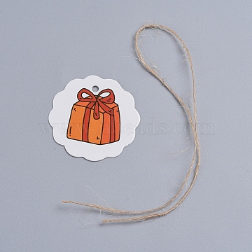 Paper Gift Tags, Hange Tags, For Arts and Crafts, For Christmas, with Pattern and Hemp Cord, Flat Round, White, 40x40x0.3mm, Hole: 3mm; Hemp Cord: 250x0.5mm(CDIS-G003-A03)