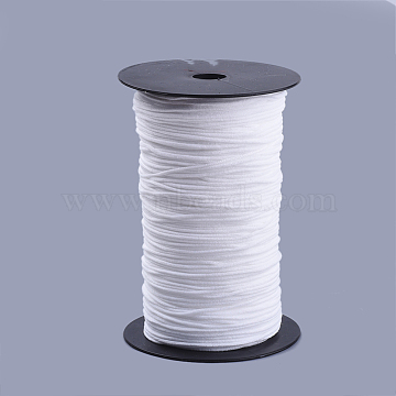 Round Nylon Elastic Band for Mouth Cover Ear Loop, Mouth Cover Elastic Cord, DIY Disposable Mouth Cover Material, with Spool, White, 2mm, about 385m/500g(421yards/500g)(1263feet/500g), 2rolls/500g(OCOR-Q053-02)
