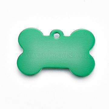 Pendentifs d'animal de compagnie en aluminium, estampillage d'une étiquette vierge, os, verte, 25x38x1mm, Trou: 2.5mm(ALUM-WH0006-10)