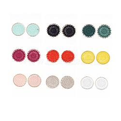 Décorations de pendentif tissées de polyester, avec les accessoires en fer, plat rond, or clair, couleur mixte, 46x1.5mm(FIND-S283-03-M)
