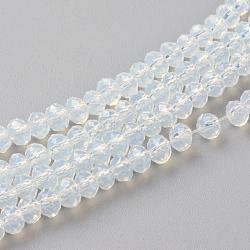 """Chapelets de perles en verre imitation jade, facette, rondelle, azur, 3x2 mm; trou: 0.5 mm; environ 188~190 pcs / brin, 16.7""""(X-GLAA-R135-2mm-40)"""