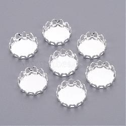 base en laiton argenté plat cuvettes rondes de bordures en dentelle, paramètres cabochon, sans cadmium et sans plomb, Plateau: 10 mm(X-KK-C1764-3-S)